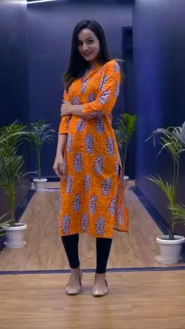 Block Print Orange Kurti