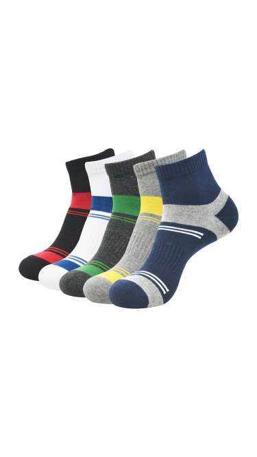 (Pack of 5) Cushioned High Ankle Socks by Baleniza