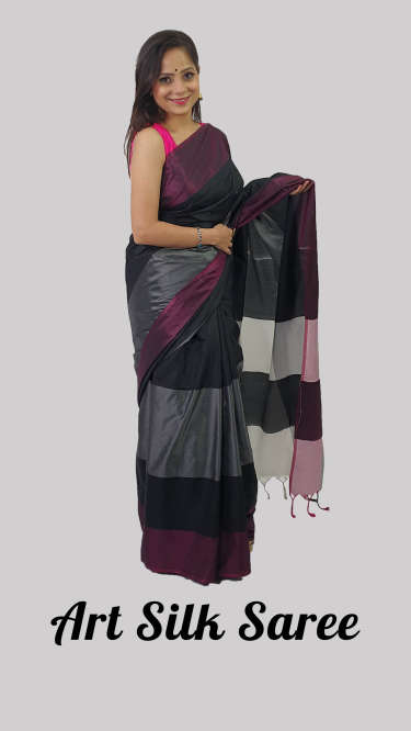Anni Designer Vanshi Art Silk Plain Saree