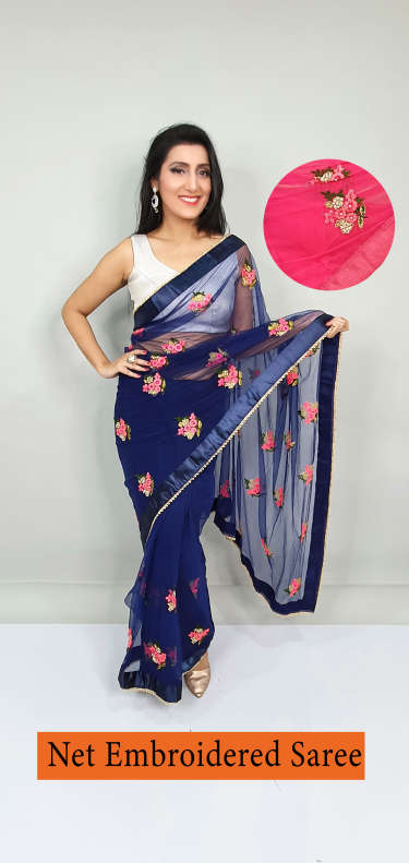 B4U Net Embroidered Saree