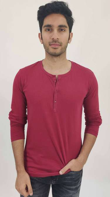 Henley Neck Cotton Solids T-Shirt by Gespo
