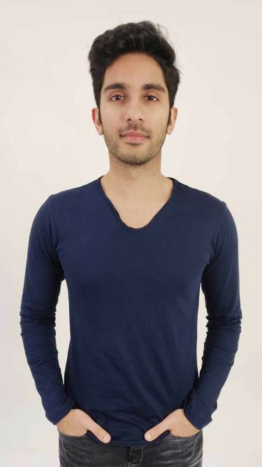 V-Neck Cotton Solids T-Shirt by Gespo