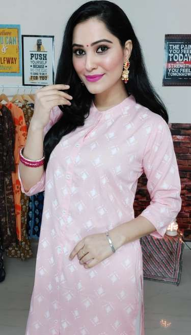PP Peach Straight Kurti ( Free Mask)