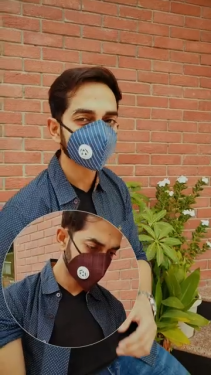 V2A Check Pattern Cotton Designer 3 Ply Anti Pollution Dust Mask
