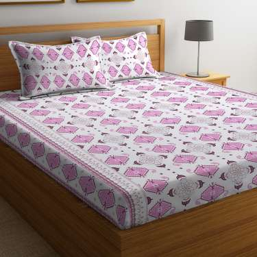 Cortina white &pink floral super soft cotton double bed sheet set