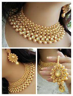 Navya Collection Necklace Set with Maang Tikka